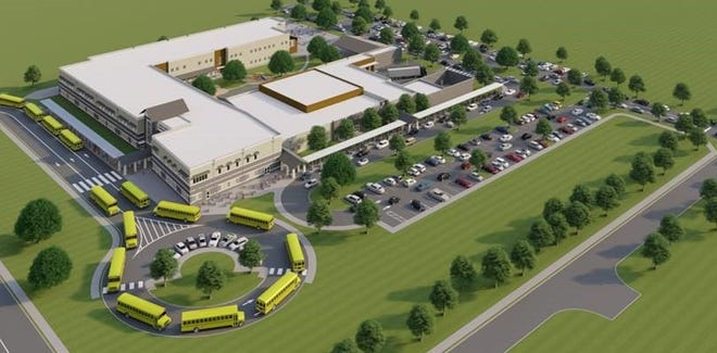 An artist's rendering of the new elementary school in Davenport.