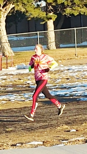 Kailene Black runs in the virtual Rocky Ford Turkey Trot over the Thanksgiving weekend. Black had the top women's time.