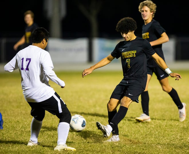 Forest's Sebastian Arango set to score one of his five goals Wednesday night. The Forest Wildcats defeated the Lake Weir Hurricanes 7-1.