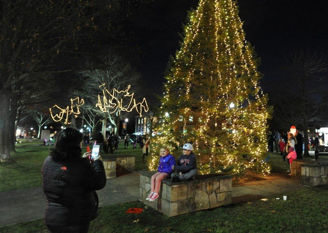 Braintree's town hall Christmas tree in 2017.