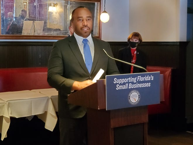 Florida State Senator Bobby Powell speaks at event  in West Palm Beach on Wednesday, Dec. 2, 2020.