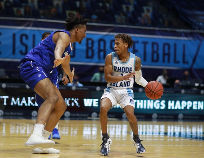 URI guard Fatts Russell looks for an opening against Seton Hall Wednesday night at the Ryan Center. Russell had 17 points in the win.