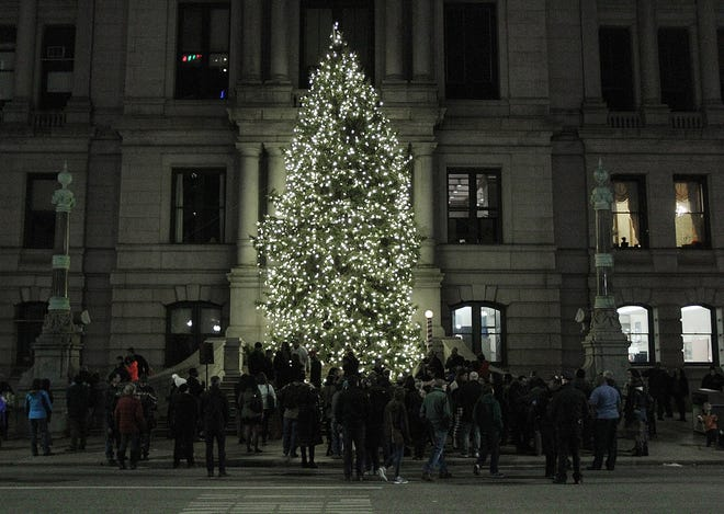 The Christmas tree outside City Hall, shown in 2016.