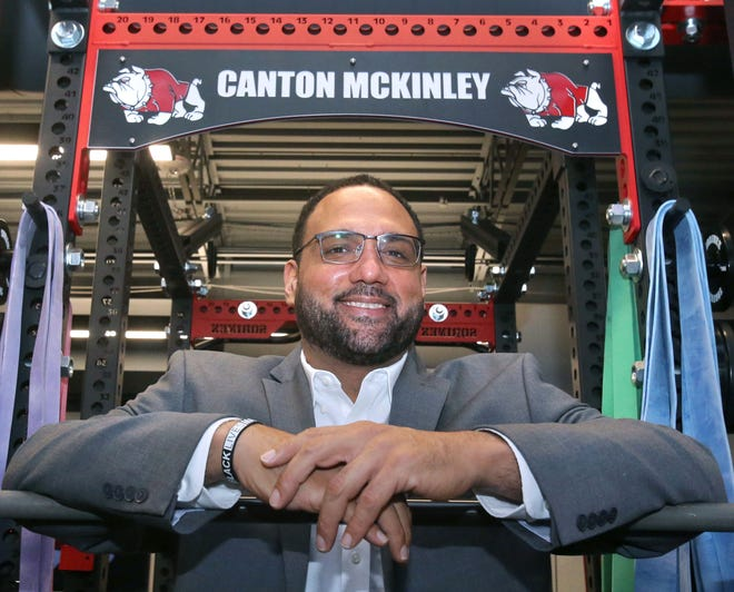 Antonio Hall, McKinley athletic director, is shown in the school's weight room on Thursday, Dec. 3, 2020.