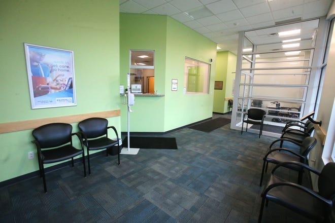 The waiting room of the recently opened AultmanNow Urgent Care in Louisville.