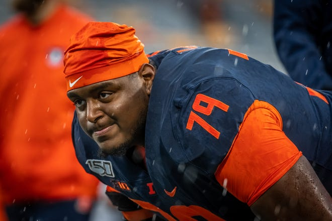 """Illinois offensive lineman Vederian Lowe (79), this week's guest on the """"Not Just a Game"""" podcast, is one of the anchors on the Fighting Illini offensive line once again this season."""
