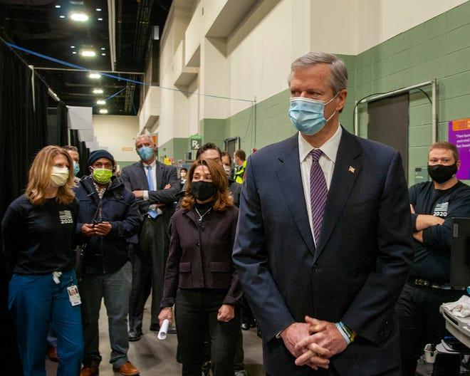 Gov. Charlie Baker at the DCU Center field hospital in Worcester Dec. 3.