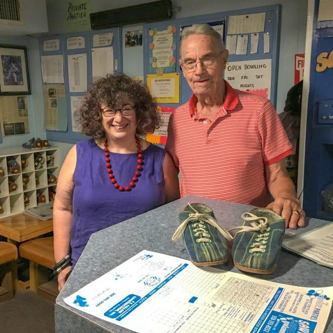 Susan Mara Bregman and Ernie Sawyer at Sawyer's Bowladrome in Northboro.