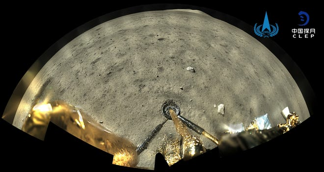 This image taken by panoramic camera aboard the lander-ascender combination of Chang'e-5 spacecraft provided by China National Space Administration shows a moon surface after it landed on the moon on Wednesday.