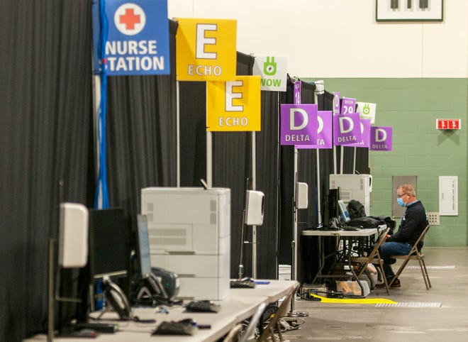 The COVID-19 field hospital at the DCU Center opened Sunday.