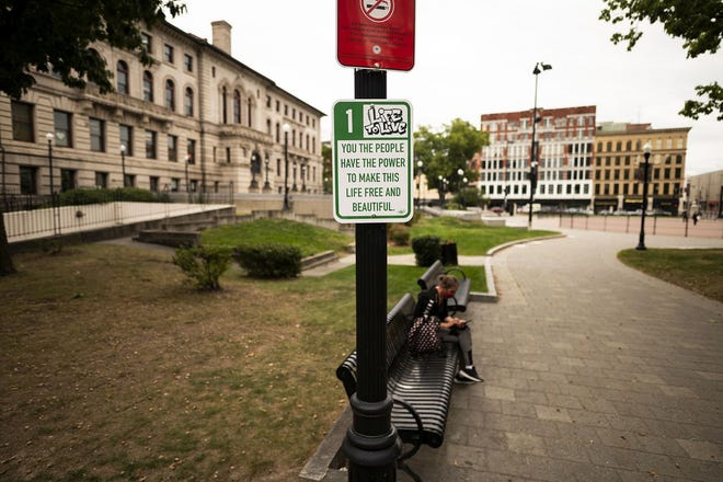 """Worcester's """"Give Me A Sign"""" project was a partnership with the City of Worcester Cultural Development Division, the Worcester Cultural Coalition and the Greater Worcester Community Foundation."""