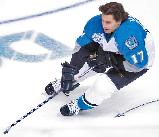 Worcester's Ryan Vesce competes in the puck control relay event during the AHL All-Star Classic in 2009 at the DCU Center. Vesce won the event.