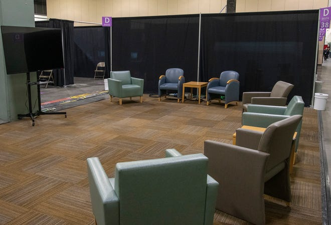 The DCU Center field hospital includes a common area for patients to move around and socialize.