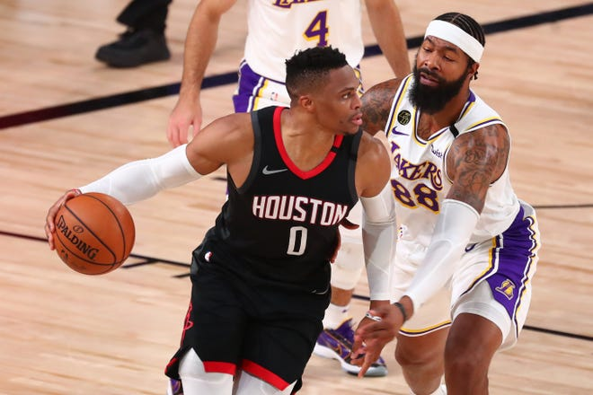 Rockets guard Russell Westbrook (0) is headed to the Washington Wizards.