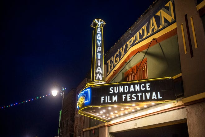 The marquee of the Egyptian Theatre promotes the 2020 Sundance Film Festival in Park City, Utah on Jan. 28, 2020.