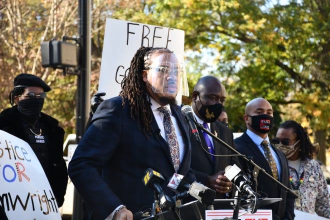 FILE - Rev. Gregory Drumwright previously addressed a crowd at the state Capitol. An obstruction charge lodged against Drumwright recently was dropped by the Alamance County district attorney.