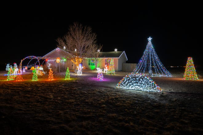 The Mahaffey family home at 1193 E. Tidy Drive in Pueblo West is lit up with Christmas lights. The family has a nightly light show at the home where they are collecting food and toy donations for those in need.