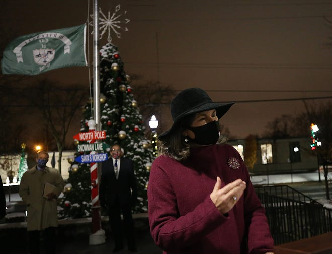 Whitehall Mayor Kim Maggard speaks during Whitehall's virtual Christmas tree-lighting ceremony Dec. 1.