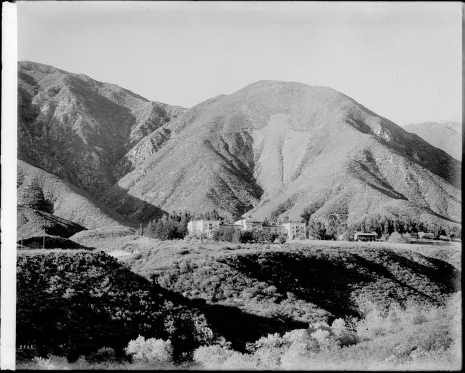 A view of the iconic arrowhead landmark in San Bernardino circa 1910 with the Arrowhead Springs Hotel below.