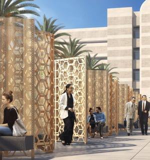 """A rendering shows the """"Curtain of Courage"""" by landscape architect artist Walter Hood. The artist will create the piece to honor those killed in the terrorist attack on Dec, 2 2015, in San Bernardino."""