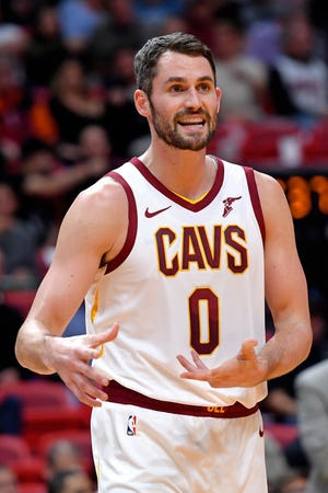 Nov 20, 2019; Miami, FL, USA; Cleveland Cavaliers forward Kevin Love (0) reacts against the Miami Heat during the first half at American Airlines Arena.