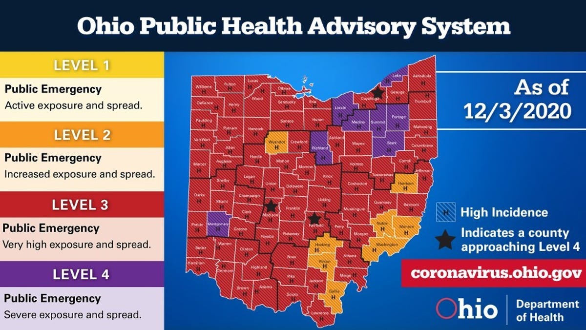 Covid 19 Eight Of Ohio S 88 Counties Are Purple On New Map