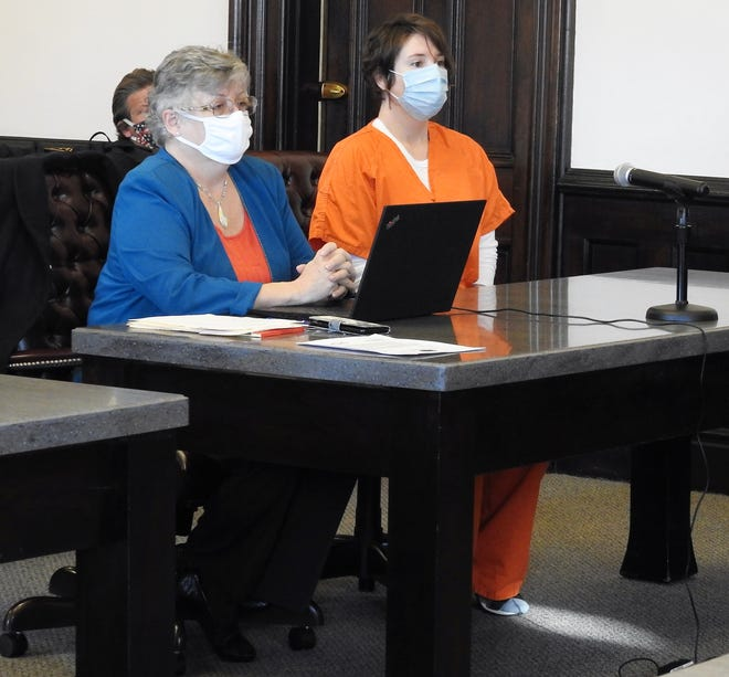 Attorney Marie Seiber with Stepfanie Eshack in Coshocton County Common Pleas Court. Eshack received a mandatory sentence of six years in prison for trafficking in methamphetamine.
