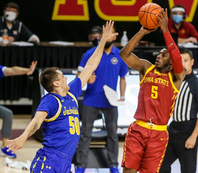 Kansas senior guard Jalen Coleman-Lands (5), a transfer from Iowa State, has impressed the Jayhawks with his 3-point shooting during summer workouts.