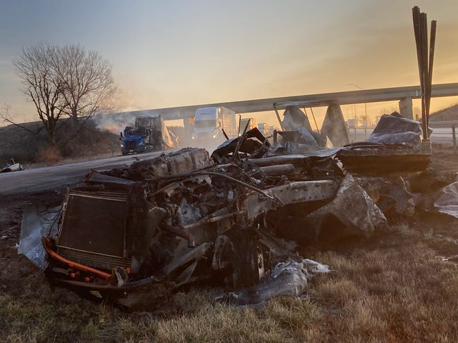 Neither driver was injured in a fiery semi crash between Adair and Casey Thurs. Dec. 3, 2020. The crash briefly closed Interstate 80 as firefighters extinguished the flames.