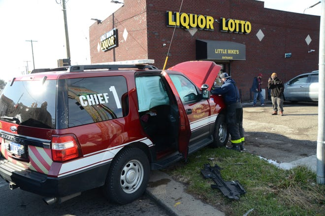 A Detroit fire chief, who has not been identified, was struck head-on about 1 p.m. on Thursday, Dec. 3, 2020, while driving his normal rounds in the area of East McNichols Road and Strasburg Street, according to the fire department.