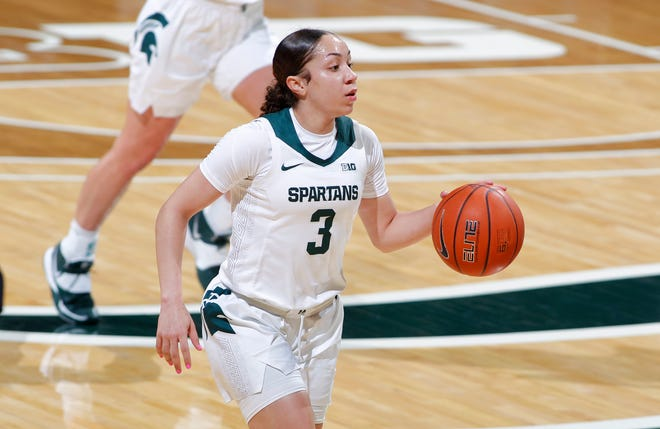 Michigan State's Alyza Winston brings the ball up court against Detroit, Wednesday, Dec. 2, 2020, in East Lansing, Mich.