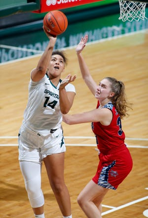 Michigan State's Taiyier Parks, left, shoots against Detroit's Nicole Johanson, Wednesday, Dec. 2, 2020, in East Lansing, Mich.