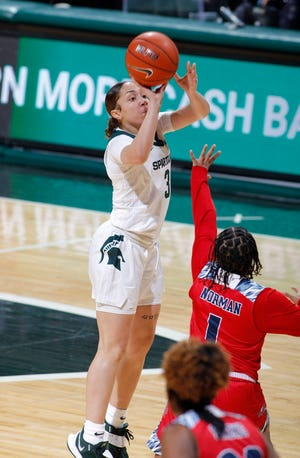 Michigan State's Alyza Winston, left, shoots over Detroit's Alicia Norman, Wednesday, Dec. 2, 2020, in East Lansing, Mich. Michigan State won 82-45.