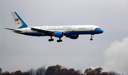 Air Force Two prepares to touche down at the Air National Guard 164th Airlift Wing as Vice President Mike Pence arrives in Memphis for a rountable discussion about Operation Warp Speed on Thursday, Dec. 3, 2020, in Memphis, Tenn.