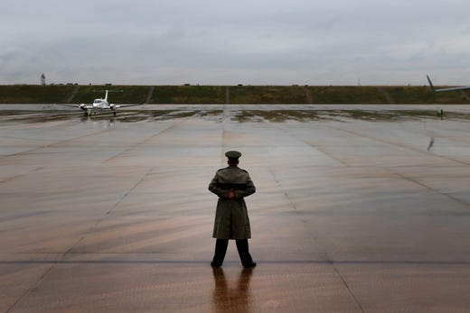A lone guardsman stands awaiting the arrival of Air Force Two at the Air National Guard 164th Airlift Wing for a rountable discussion about Operation Warp Speed on Thursday, Dec. 3, 2020, in Memphis, Tenn.