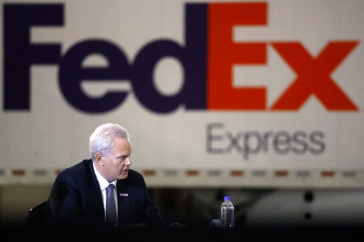 Richard Smith FedEx regional president of The Americas and executive vice president, participates in roundtable discussion with Vice President Mike Pence about Operation Warp Speed at the Air National Guard 164th Airlift Wing on Thursday, Dec. 3, 2020, in Memphis, Tenn.