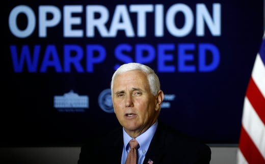 Vice President Mike Pence participates in a roundtable discussion about Operation Warp Speed at the Air National Guard 164th Airlift Wing on Thursday, Dec. 3, 2020, in Memphis, Tenn.