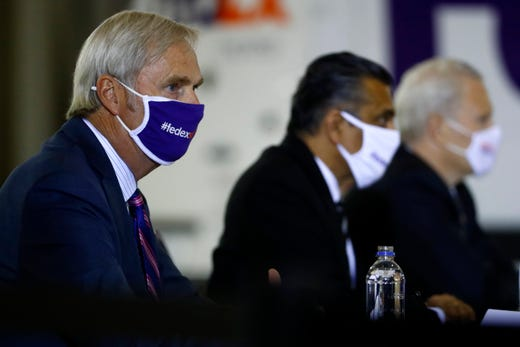 Don Colleran, FedEx Express CEO, participates in a roundtable discussion with Vice President Mike Pence about Operation Warp Speed at the Air National Guard 164th Airlift Wing on Thursday, Dec. 3, 2020, in Memphis, Tenn.