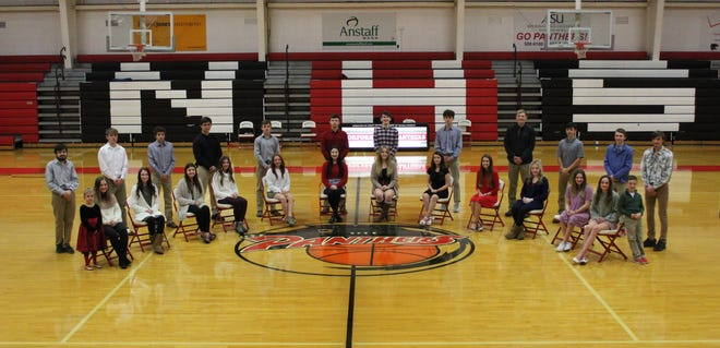 Norfork High School's homecoming court are (from left) crown bearer Harley Hudgens; 7th-grade maid Taylor Ferretti and escort Keegan Davis; 9th-grade maid Grayson Havner and escort Isaiah Morris; 9th-grade maid Hollyn Bradbury and escort Caleb McGowan; 9th-grade maid Kasey Moody and escort Mason Weiroch; 11th-grade maid Madison Hall and escort Dallas Forman; 12th-grade maid Naomi Bishop and escort Jacob Alexander; 12th-grade maid Aeja McFall and escort Blythe Stapleton; 12th-grade maid Mesa Beavers and escort Dillon Hall; 11th-grade maid Kylie Manes and escort Will Martin; 10th-grade maid Janoah Douglas and escort Ike Barrow; 8th grade maid Marlee Shields and escort Jesse Maple; 8th grade maid Emma Richard and escort Gabe McFall; and crown bearer Joey Richard. The king and queen will be crowned during homecoming festivities beginning at 5 p.m. Friday at the high school, followed by the homecoming game against Maynard.