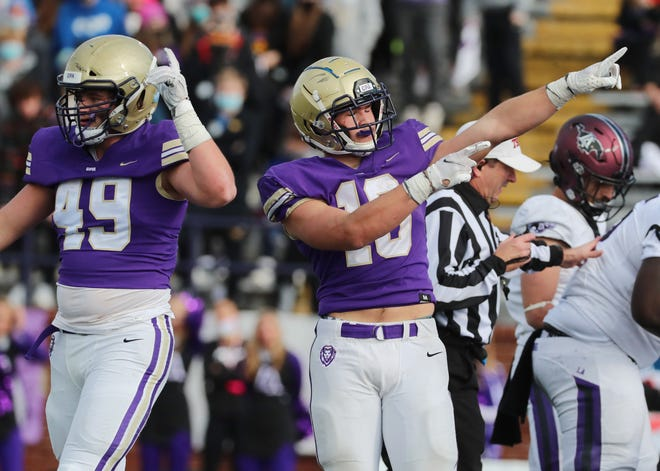 CPA's Langston Patterson (10) celebrates a touchdown by Cade Law (11) during the third quarter of the Division II-AA BlueCross Bowl Football Championship game at Tucker Stadium in Cookeville, Tenn., Thursday, Dec. 3, 2020.