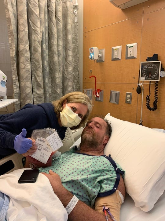 California recipient Michael Silberstein with wife Julie during bone marrow transplant in 2019.