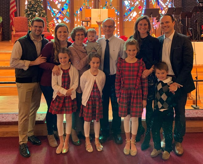Back row left to right: Alex Ridolfi, Britni Ridolfi, Judy Henderson, Hudson Ridolfi, Cooper Henderson, Carrie Henderson and Bryan Henderson. Front row left to right: Annabelle, Emmeline, Charis and L.G. Henderson pose for a Christmas photo in 2019. Church and family are big parts of the Henderson's Christmas traditions.