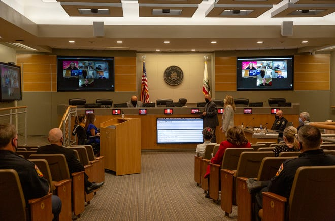 An Indio City Council meeting is live-streamed from council chambers in Indio, Calif., on December 2, 2020.