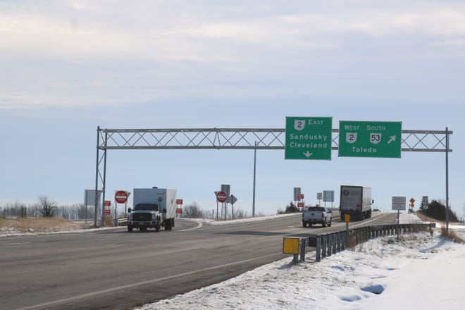 The Ohio Department of Transportation announced a proposal to add a roundabout at the westbound Ohio 2 and Ohio 53 interchange, pictured here.