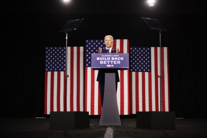 "Democratic presidential candidate former Vice President Joe Biden speaks at the Chase Center on July 14, 2020 in Wilmington, Delaware. Biden delivered remarks on his campaign's ""Build Back Better"" clean energy economic plan. (Chip Somodevilla/Getty Images/TNS)"