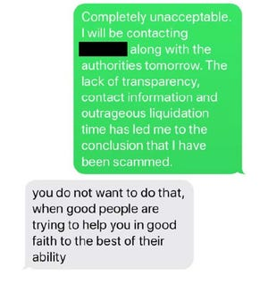 Among items filed in U.S. District Court in Sacramento, the U.S. Attorney's Office included part of an alleged  text message exchange between Matthew Piercey of Palo Cedro and one of his clients.