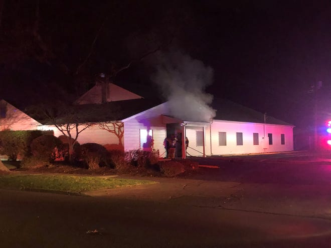 A fire at the North Salem Church of Jesus Christ of Latter-Day Saints meetinghouse at 1795 5th St. NE on Wednesday, Dec. 2, 2020.