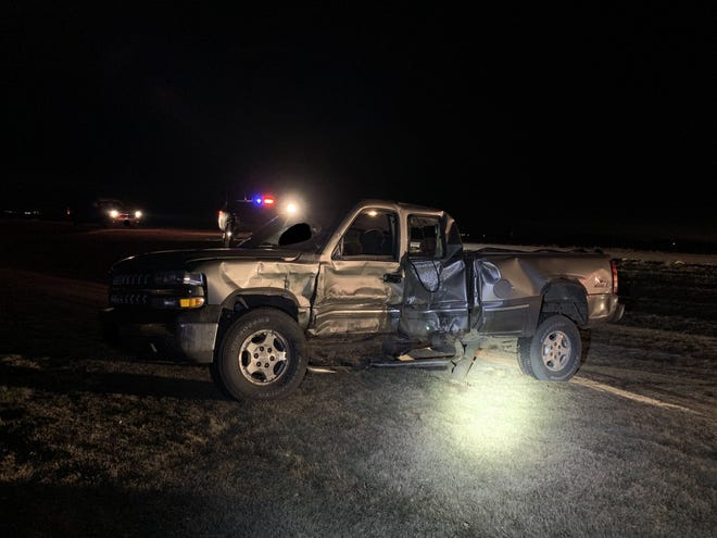 A 1999 Chevy Silverado involved in a two-vehicle accident in Lincoln County.