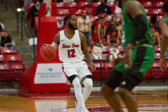 Dixie State's Cameron Gooden dribbles up the floor during the Trailblazers' 74-73 win over North Dakota on Wednesday, Dec. 2, 2020.