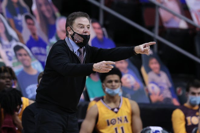 Iona Gaels head coach Rick Pitino points during the second half against the Seton Hall Pirates at Prudential Center on Nov. 30, 2020 in Newark, N.J.